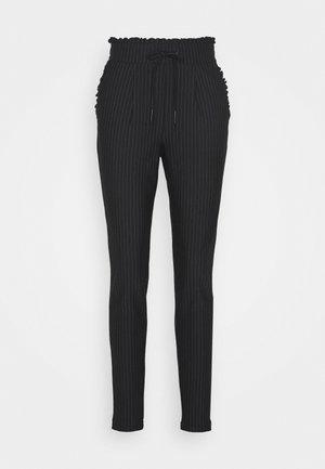 ONLPOPTRASH PINSTRIPE FRILL PANT - Trousers - black
