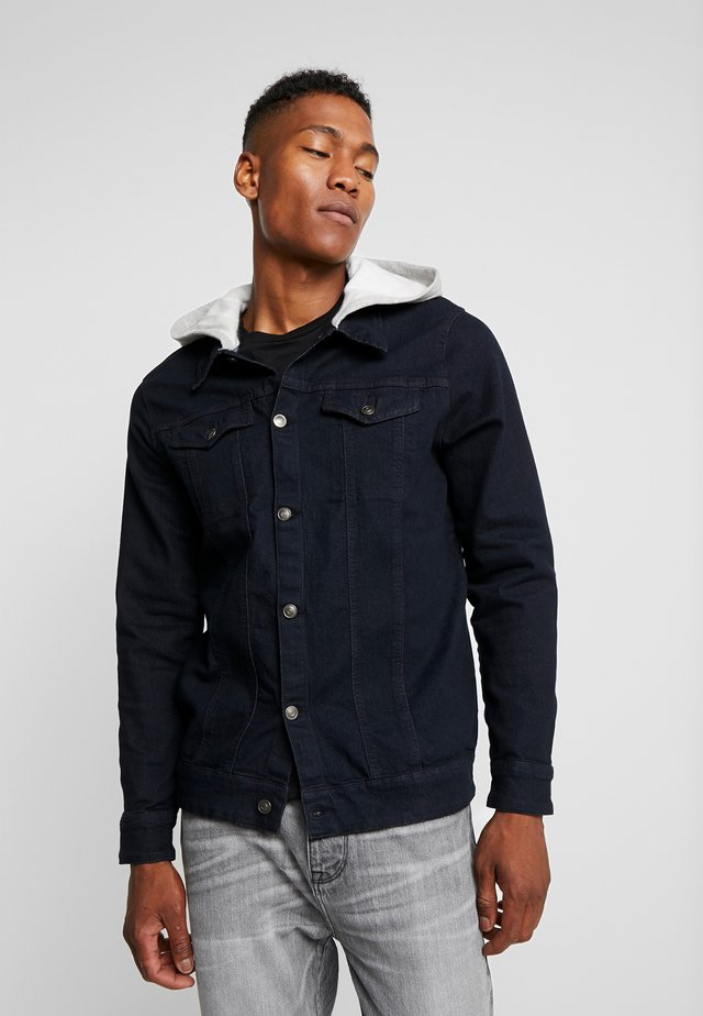 JACKET WITH HOOD - Denim jacket - washed black