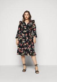 Simply Be - WRAP DRESS - Day dress - black - 0