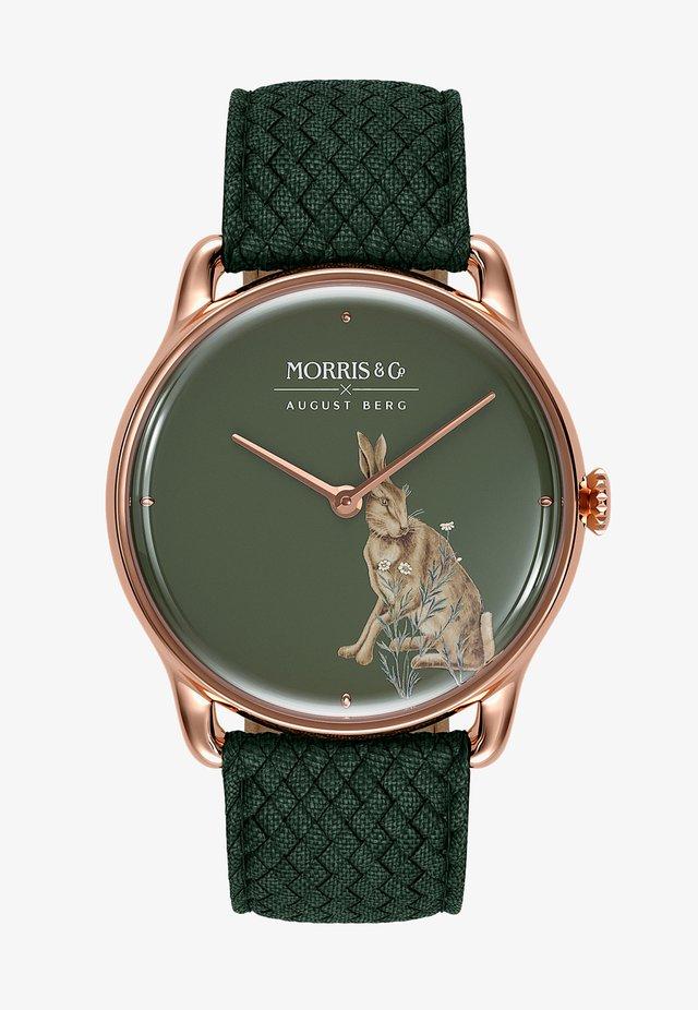 UHR MORRIS & CO ROSE GOLD GREEN PERLON 38MM - Horloge - crimson