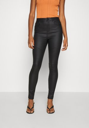 VMSOPHIA SKINNY BIKER COATED  - Jeansy Skinny Fit - black/coated