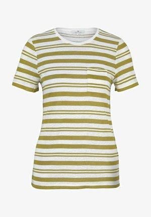 Basic T-shirt - white green irregular stripe
