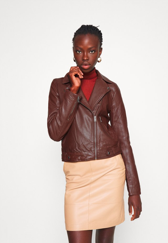 SLFKATIE JACKET  - Leather jacket - cherry mahogany