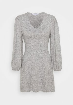 TIE WASIT BRUSHED DRESS - Robe pull - grey