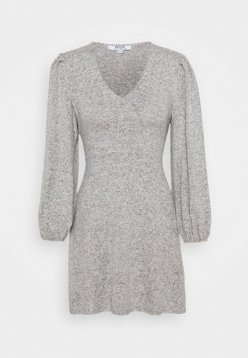 Dorothy Perkins Petite - TIE WASIT BRUSHED DRESS - Sukienka dzianinowa - grey