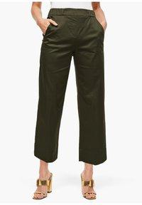 s.Oliver BLACK LABEL - POPELINE - Trousers - dark khaki green - 3