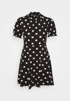 SPOT SHIRRED HIGH NECK - Jerseykjole - black