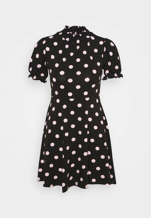 SPOT SHIRRED HIGH NECK - Jersey dress - black