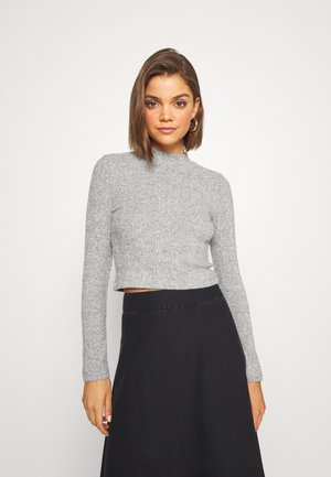 SOFT CROPPED JUMPER - Strikkegenser - mottled grey