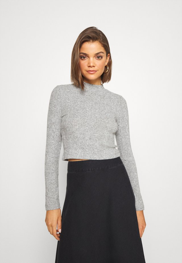 SOFT CROPPED JUMPER - Pullover - mottled grey