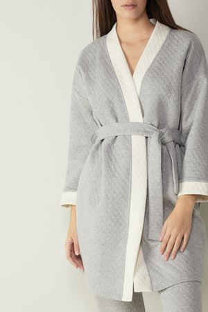 Dressing gown - grey blend/talc white