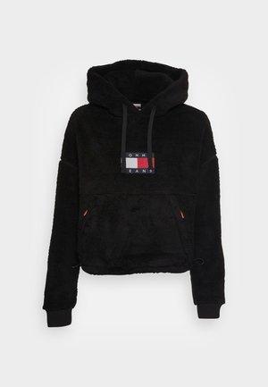 CROPPED PLUSH HOODIE - Sportinis megztinis - black