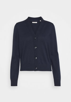 CARDIGAN LONG SLEEVE V-NECK BUTTON CLOSURE - Chaqueta de punto - dark night