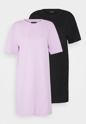 2 PACK - Jersey dress - black/ lilac