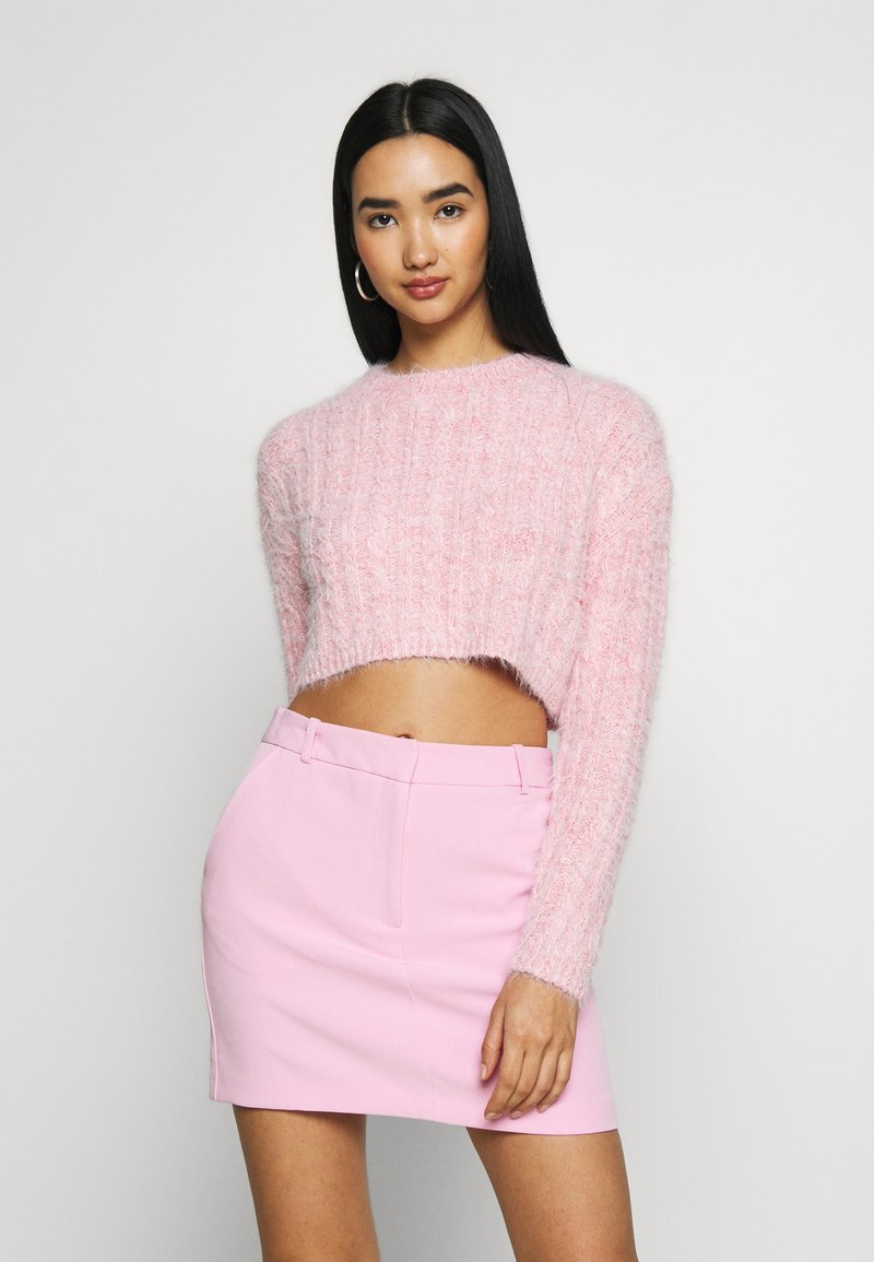 Topshop - FLUFFY CABLE CROP - Jumper - pink