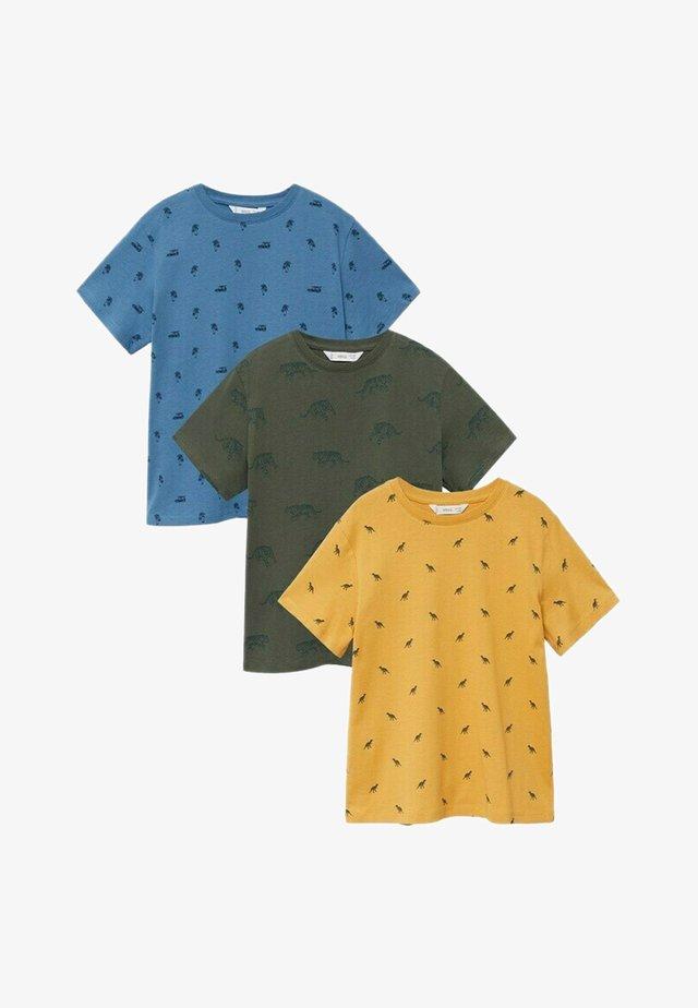3 PACK - Print T-shirt - mosterd