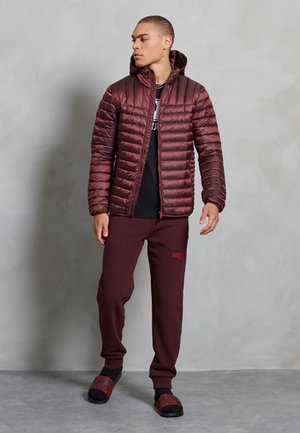 CORE LOGO ATHLETICS - Tracksuit bottoms - rich deep burgundy
