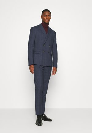 DOUBLE BREASTED WINDOWPANE CHECK SUIT - Puku - dark blue