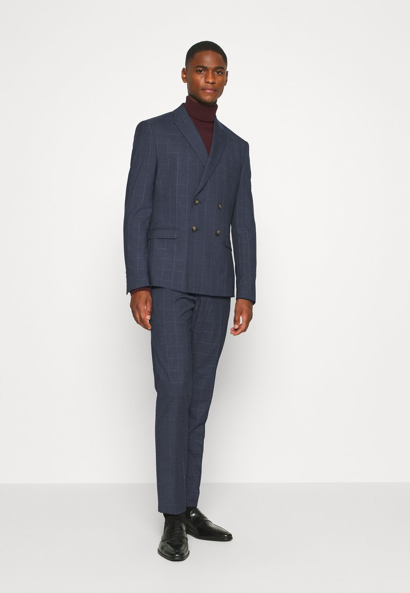 Isaac Dewhirst - DOUBLE BREASTED WINDOWPANE CHECK SUIT - Suit - dark blue