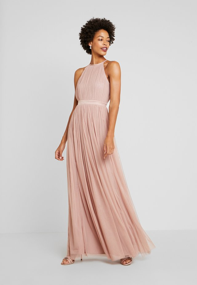 DELICATE HALTER NECK WAISTBAND DRESS - Iltapuku - pearl blush