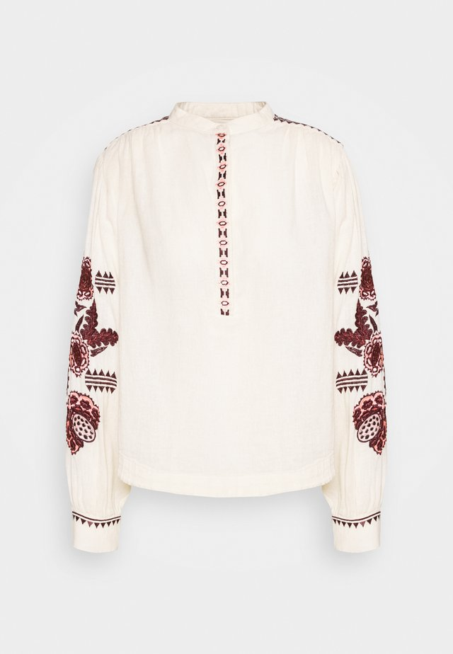 EMBROIDERED TOP WITH VOLUMINOUS SLEEVE - Bluzka - ivory