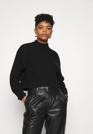 CROPPED MOCK NECK - Jumper - black