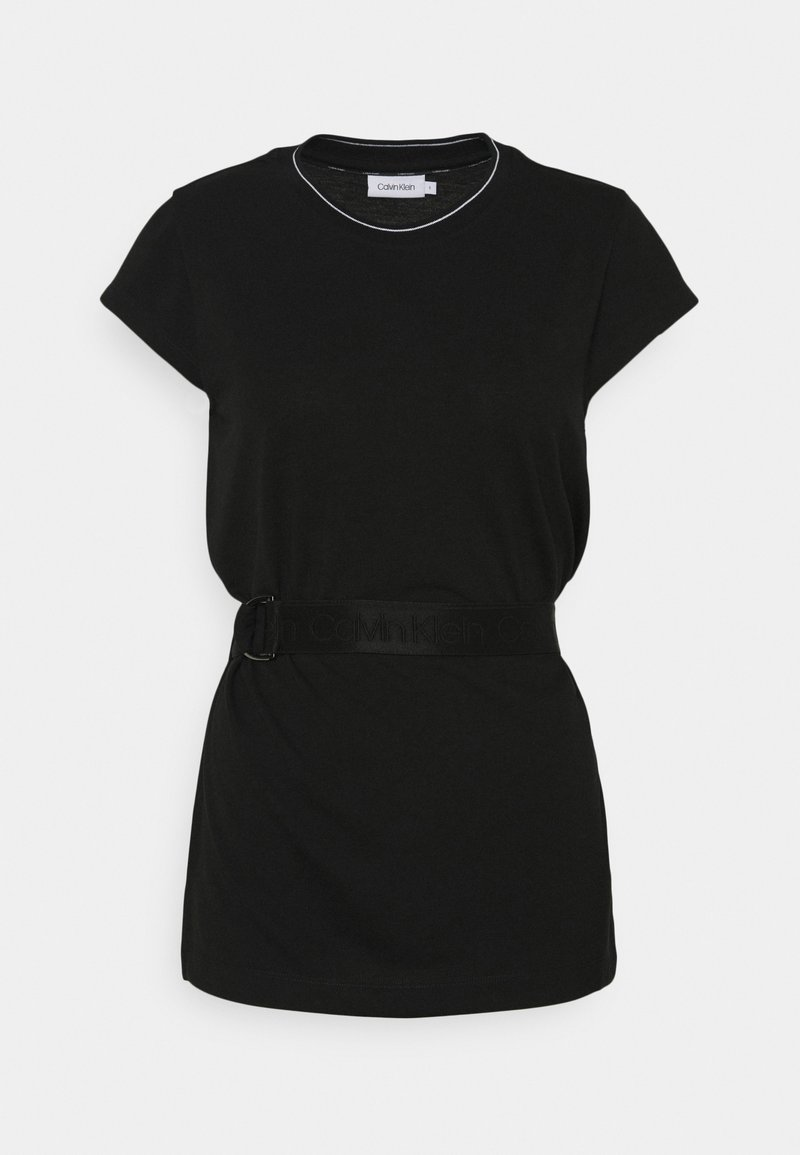 Calvin Klein - CAP SLEEVE BELTED - Basic T-shirt - black