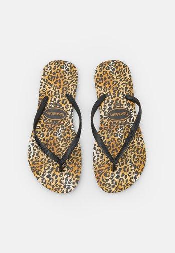 SLIM FIT LEOPARD - T-bar sandals - black