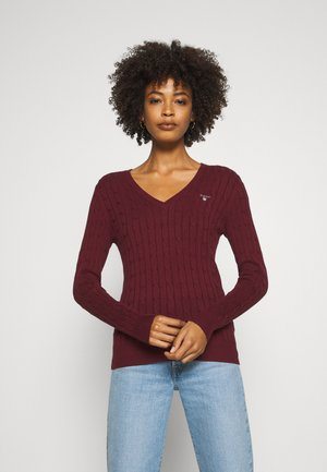 STRETCH CABLE V NECK - Neule - port red