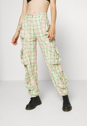 SYMBOL PANT - Cargo trousers - lime/pink