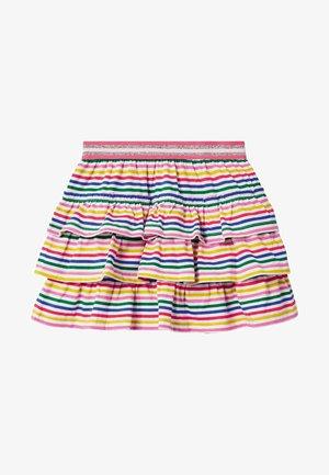 MIT RÜSCHEN - A-line skirt - bunt, gestreift