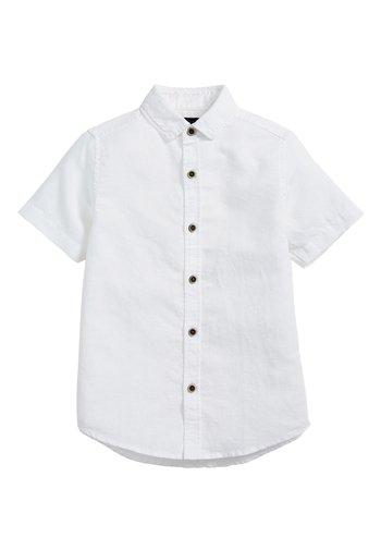 WHITE SHORT SLEEVE LINEN MIX SHIRT (3-16YRS) - Camicia - white