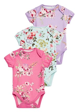 3 PACK FLORAL SHORT SLEEVE BODYSUITS - Body - pink