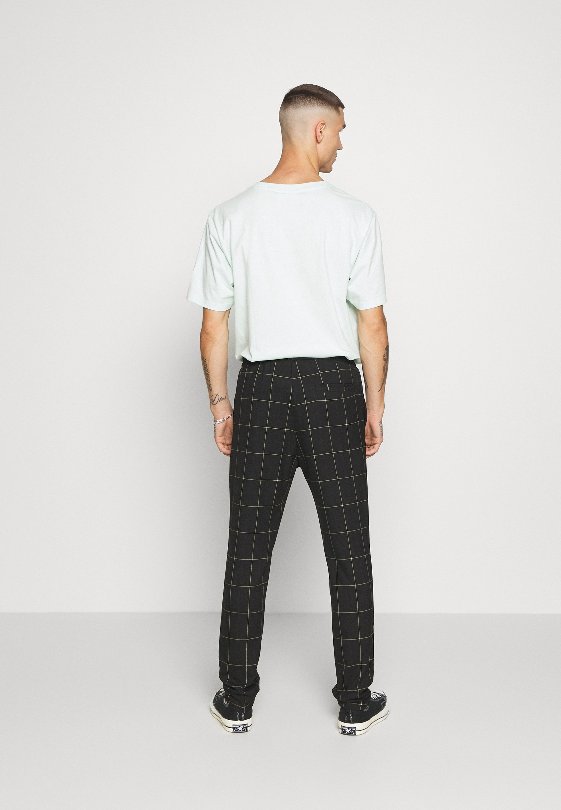 Only & Sons ONSLINUS LONG CHECK  - Trousers - black qqtVe