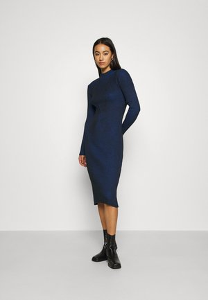 PLATED LYNN DRESS MOCK - Shift dress - imperial blue/dark black