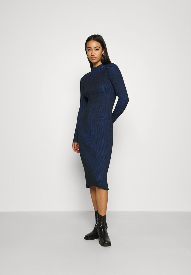 PLATED LYNN DRESS MOCK - Jumper dress - imperial blue/dark black