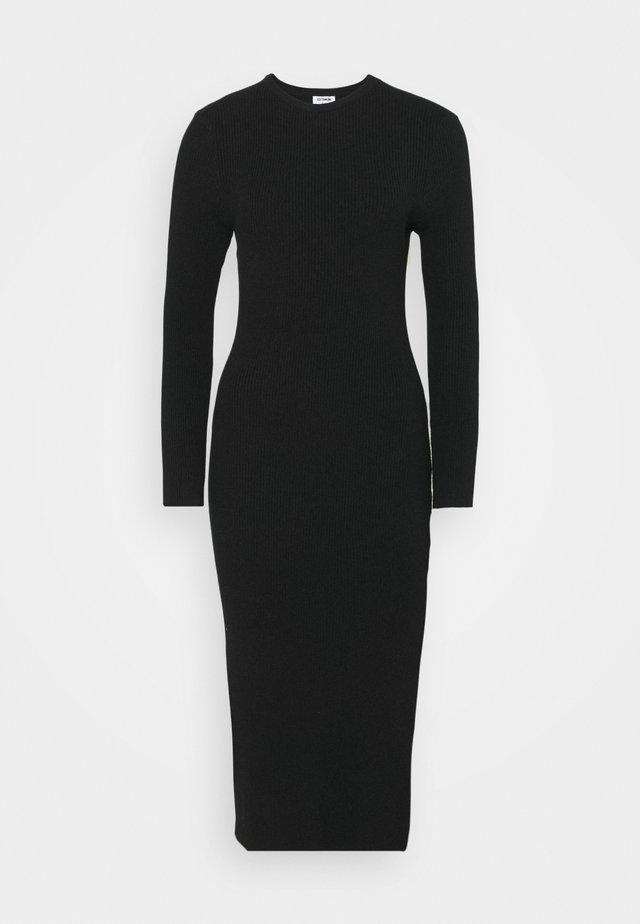 ELLA LONG SLEEVE SPLIT DRESS - Neulemekko - black