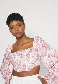 Missguided - PRINTED BALLOON SLEEVE CORSET - Long sleeved top - white - 4