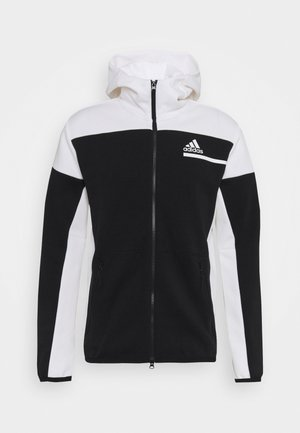 HOODIE PRIMEGREEN HOODED TRACK TOP - Mikina na zip - black/white