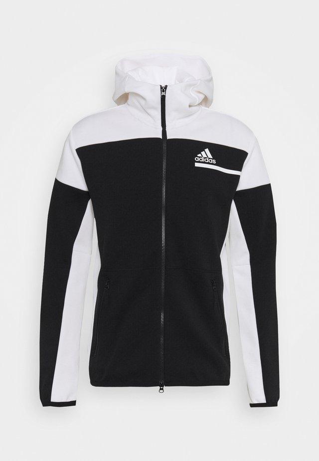HOODIE PRIMEGREEN HOODED TRACK TOP - Zip-up hoodie - black/white