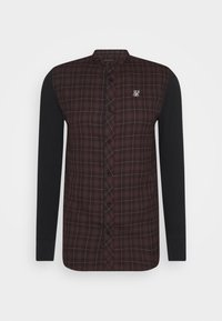SIKSILK - CHECK GRANDAD - Overhemd - burgundy/black