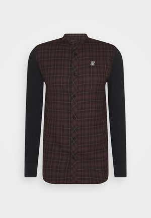 CHECK GRANDAD - Camicia - burgundy/black