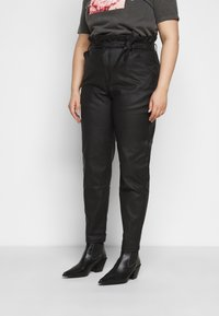 Missguided Plus - PAPERBAG WAIST - Trousers - black - 0