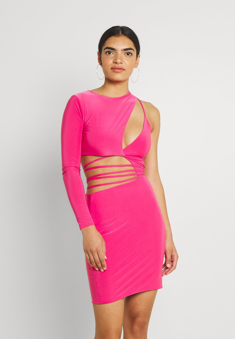 Missguided - SLINKY ONE SHOULDER CUT OUT - Cocktail dress / Party dress - hot pink