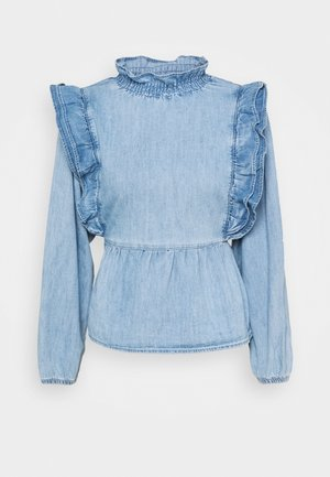 FRILL ZAHARA - Long sleeved top - mid blue
