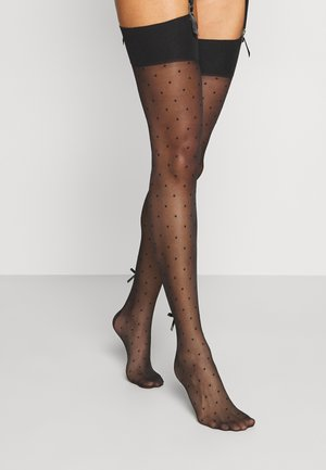 DOTTY SEAMED STOCKINGS WITH FLOWER BOW - Over-the-knee socks - black