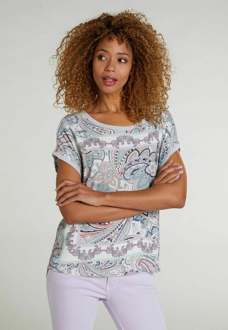 Oui - Print T-shirt - lt green grey