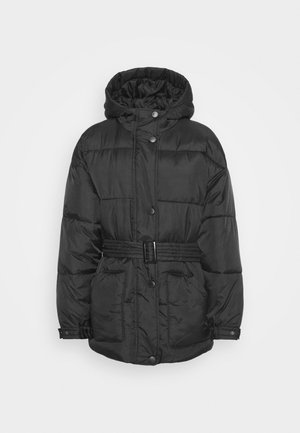 SELF BELTED PUFFER - Zimní bunda - black
