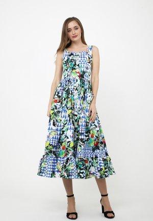 Korte jurk - weiß, kornblumenblau