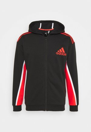 HOODIE - veste en sweat zippée - black/red